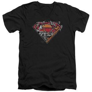 Superman/Breaking Chain Logo Short Sleeve Adult T-Shirt V-Neck in Black