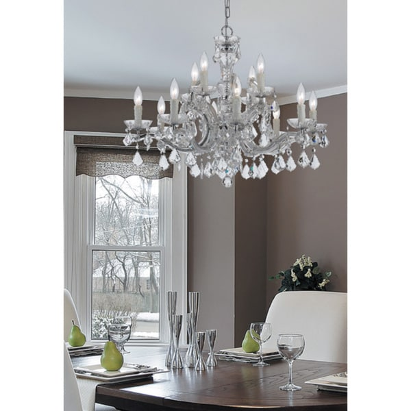 Crystorama Maria Theresa Collection 12-light Polished Chrome/Swarovski Spectra Crystal Chandelier