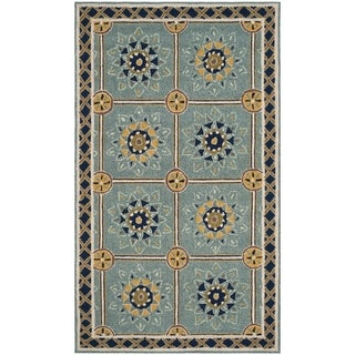 Safavieh Hand-hooked Easy to Care Light Blue / Dark Blue Rug (2' x 3')
