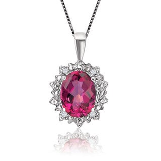 Avanti 10K White Gold 2 3/4 CT TGW Hot Pink Oval Topaz Pendant with Diamond Accent Necklace