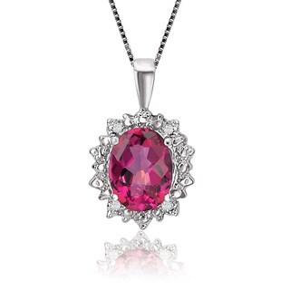 Avanti 10K White Gold 2 3/4ct TGW Pink Oval Topaz Diamond Accented Pendant Necklace