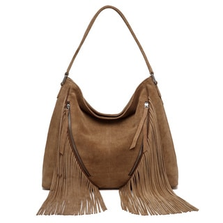 Vicenzo Lather Renia Suede Leather Fringe Hobo Handbag