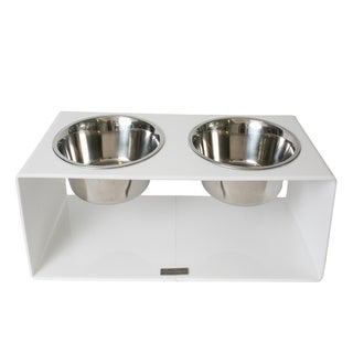 Pet Lounge Studios White Acrylic/Stainless Steel Square Diner Cat and Dog Bowl Set