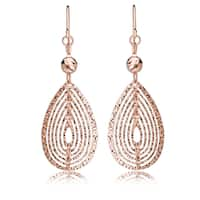 Avanti 18K Rose Gold Plated Sterling Silver Diamond Cut Layered Tear Drop Fish Hook Earrings