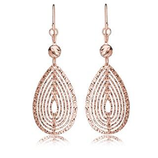 Avanti Rose Gold Plated Sterling Silver Diamond Cut Layered Tear Drop Fish Hook Earrings