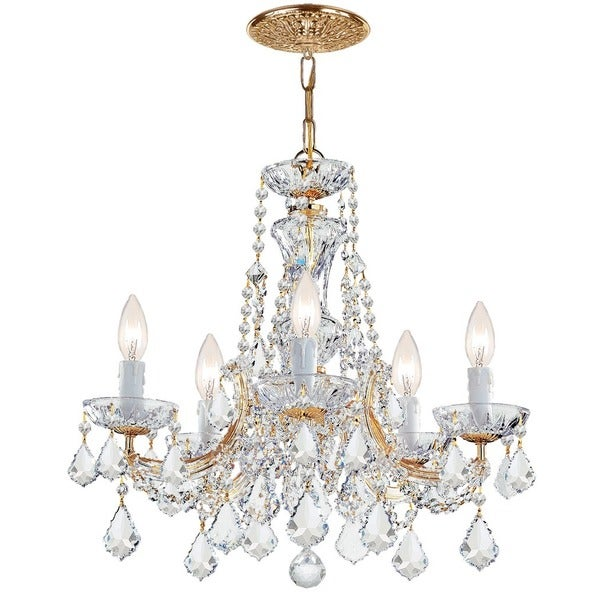 Crystorama Maria Theresa Collection 5-light Gold/Swarovski Elements Spectra Crystal Chandelier