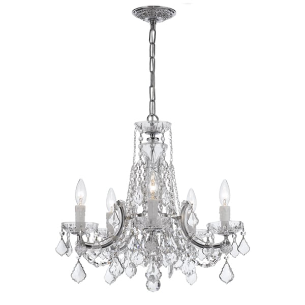 Crystorama Maria Theresa Collection 5-light Polished Chrome/Swarovski Elements Spectra Crystal Chandelier