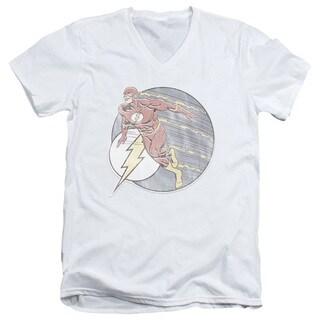 DCO/Retro Flash Iron On Short Sleeve Adult T-Shirt V-Neck in White