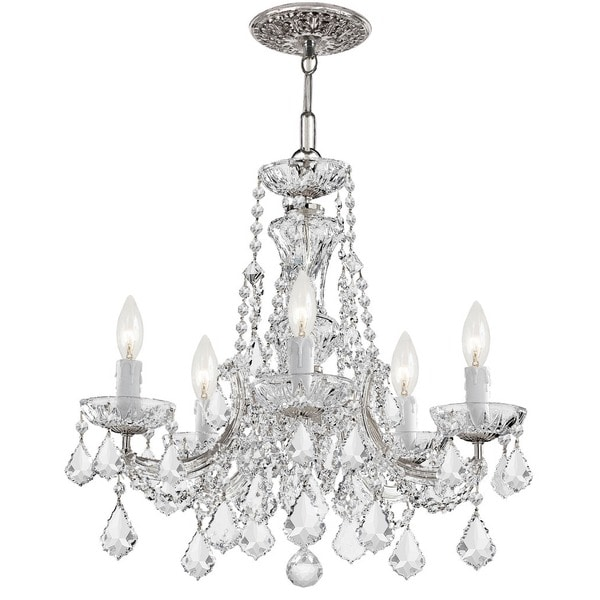 Crystorama Maria Theresa Collection 5-light Polished Chrome/Swarovski Strass Crystal Chandelier - Chrome