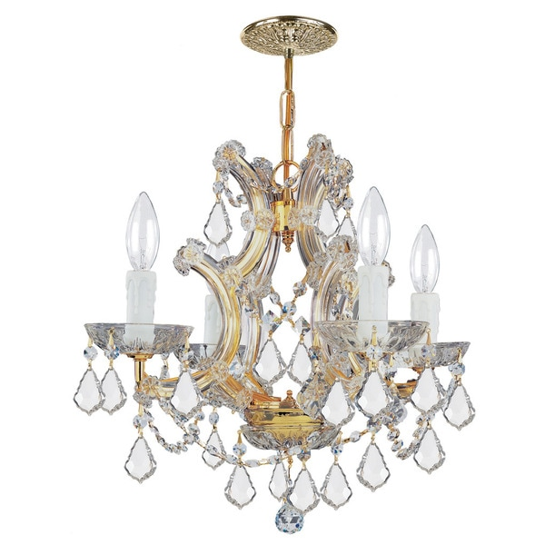 Crystorama Maria Theresa Collection 4-light Gold/Swarovski Elements Spectra Crystal Mini Chandelier
