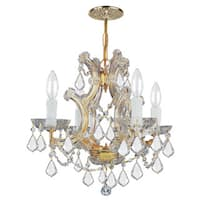 Crystorama Maria Theresa Collection 4-light Gold/Swarovski Elements Strass Crystal Mini Chandelier