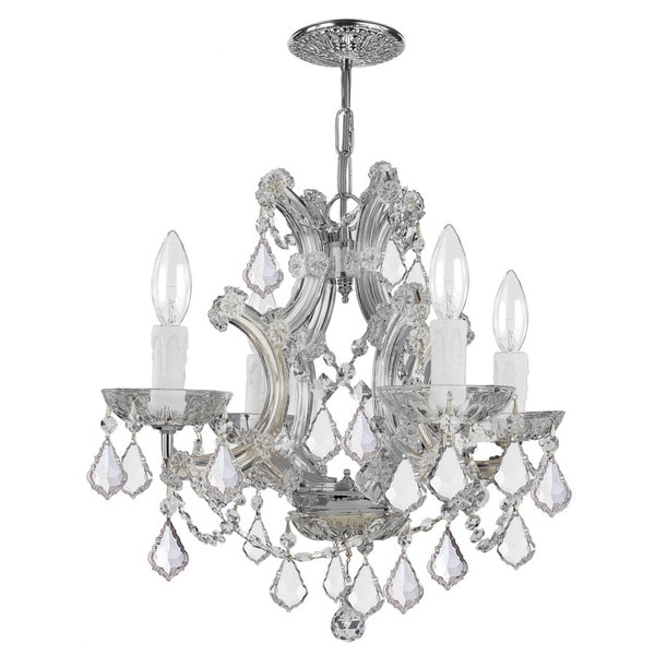 Crystorama Maria Theresa Collection 4-light Polished Chrome/Swarovski Strass Crystal Mini Chandelier - Chrome