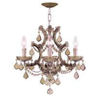 Crystorama Maria Theresa Collection 4-light Antique Brass/Golden Teak Swarovski Strass Crystal Mini Chandelier - Gold