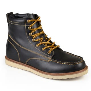 Vance Co. Men's 'Wyatt' Faux Leather Lace-up Moc Toe Work Boots (Option: Black) https://ak1.ostkcdn.com/images/products/12649651/P19438704.jpg?impolicy=medium