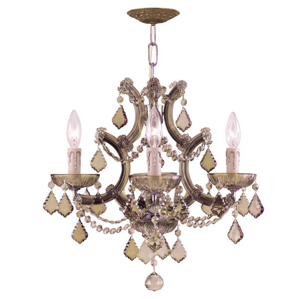 Crystorama Maria Theresa Collection 4-light Antique Brass/Golden Teak Crystal Mini Chandelier