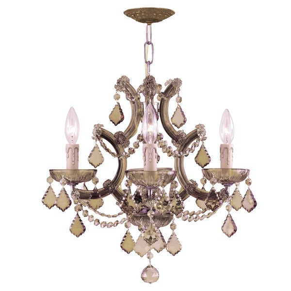 Crystorama Maria Theresa Collection 4-light Antique Brass/Golden Teak Crystal Mini Chandelier - Gold