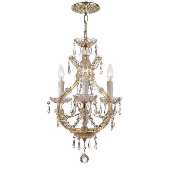 Crystorama Maria Theresa Collection 4-light Gold/Swarovski Strass Crystal Mini Chandelier