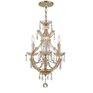 Crystorama Maria Theresa Collection 4-light Gold/Swarovski Strass Crystal Mini Chandelier