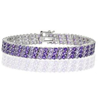 Glitzy Rocks Sterling Silver African Amethyst 3 Row Tennis Bracelet