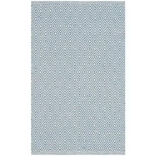 Safavieh Handmade Flatweave Montauk Eliina Casual Cotton Rug (26 x 4 - Ivory/Light Blue)