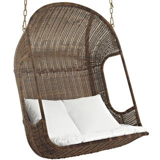 Vantage White/Brown Wood Outdoor Patio Swing Chair