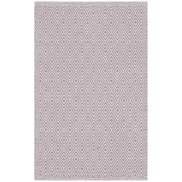 Safavieh Hand-Woven Montauk Flatweave Ivory / Purple Cotton Rug - 2' x 4'