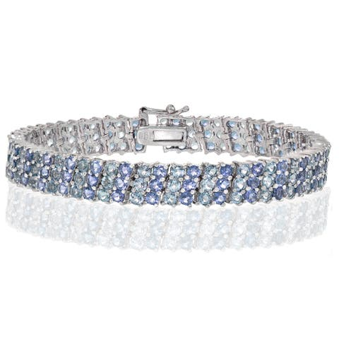 Glitzy Rocks Sterling Silver Tanzanite and Aquamarine 3 Row Tennis Bracelet