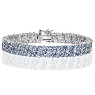 Glitzy Rocks Sterling Silver Tanzanite And Aquamarine 3 Row Tennis Bracelet