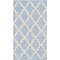 Safavieh Hand-Woven Montauk Flatweave Light Blue / Ivory Cotton Rug (2' x 4')