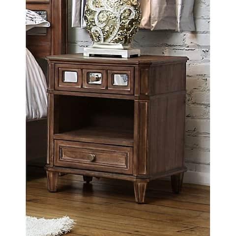 Furniture of America Wahu Transitional Oak Solid Wood Nightstand