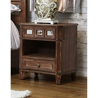 Furniture of America Alyssa Glam Mirrored Rustic Oak 2-drawer Nightstand