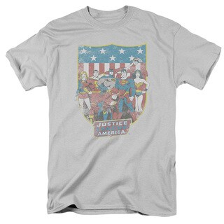 DC/JLA American Shield Short Sleeve Adult T-Shirt 18/1 in Silver