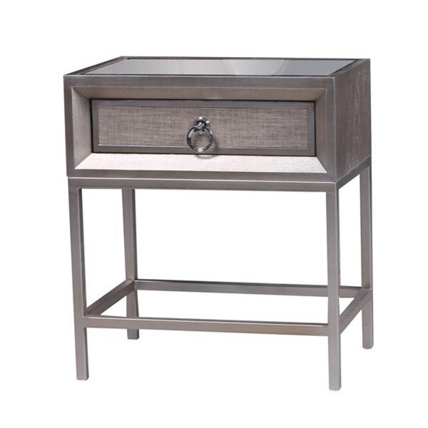Cassidy Grey Wood Metal Glass 1 Drawer Nightstand Free