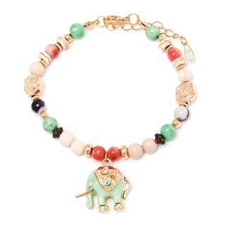 Goldplated Brass and Crystal Elephant Enamel Charm Bracelet