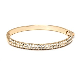 Swavorski Elements 18K Gold Plated Gold and White Bangle Bracelet