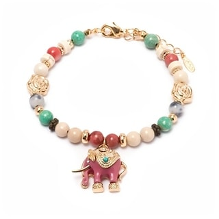 Goldplated Brass and Crystal Enamel Elephant Charm Bracelet