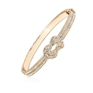 Swavorski Elements 18k Gold Plated Gold and Clear Knot Bangle Bracelet