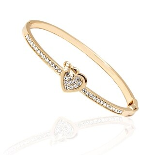 Gold Plated Gold and White Heart Bow Bangle Bracelet