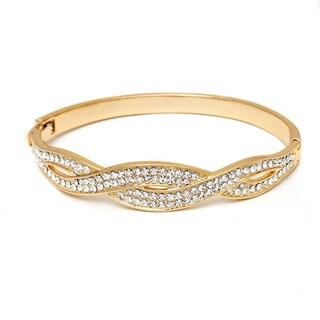 Peermont Jewelry 18k Gold-plated Swarovski Elements Braided Bangle Bracelet