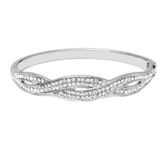 18k White Goldplated Brass Swarovski Elements Braided Bangle Bracelet