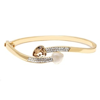 Peermont Jewelry 18k Goldplated Topaz and Clear Crystal Elements Double Heart Bangle Bracelet