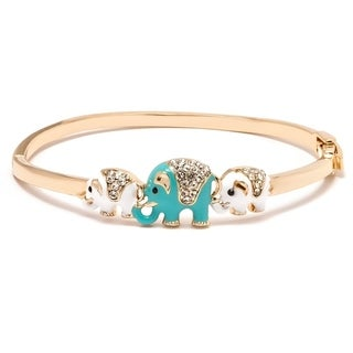 Gold-plated and Blue and White Elephant Enamel Bangle