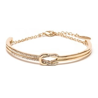Yellow Gold Plated Brass and Knot Bangle Bracelet