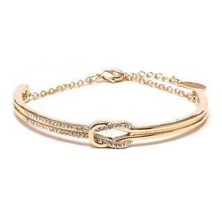 Gold Plated Brass and Knot Bangle Bracelet