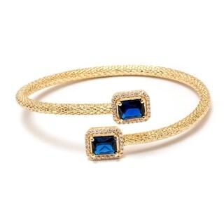 Peermont Jewelry Women's 18k Gold-plated Sapphire Swarovski Elements Cuff