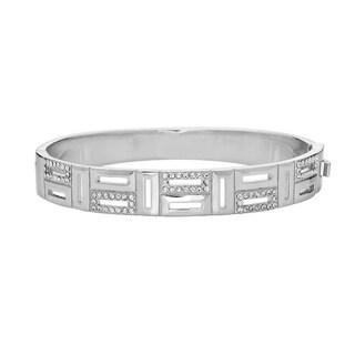 Peermont Jewelry 18k White-goldplated Brass and Swarovski Elements Greek Key Bangle