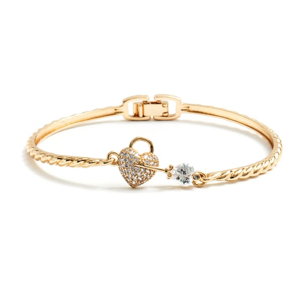 Gold Plated and Crystal Heart and Key Bangle Bracelet