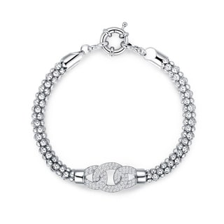 Peermont Jewelry 18k White Gold-plated Brass and Crystal Elements Popcorn Mesh Bracelet