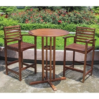 International Caravan Maine Acacia Bar-Height Bistro Set