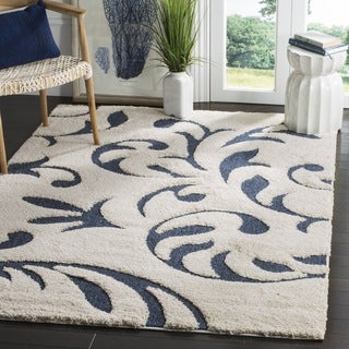 Safavieh Florida Shag Ultimate Cream/ Blue Rug (2' x 4')